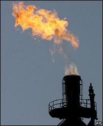 A flame from a tower of the Repsol refinery in Tarragona, Spain