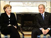 German Chancellor Angela Merkel (l) and President Bush in January