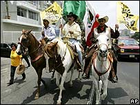 Supporters of Lopez Obrador arrive in Mexico City