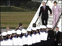 President Bush and First Lady Laura Bush arrive in Rostock