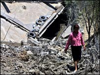 A house suspected of being a Hezbollah position which was destroyed in Debbine, Lebanon