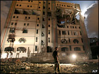 The damaged foreign ministry building in Gaza City