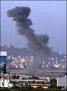Smoke billows from the Rafik Hariri International Airport in Beirut following Israeli air strikes