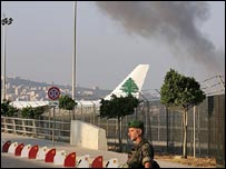 Smoke rising from Beirut airport after Israeli air strike