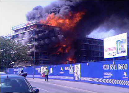 Picture of the fire in Colindale, North London