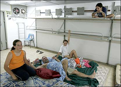 A family in a shelter in Nahariya