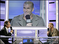 Zinedine Zidane (right) speaks to Michel Denisot in an interview with French Tv's Canal Plus channel