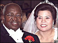 Archbishop Emmanuel Milingo with Maria Sung at their wedding in May 2001