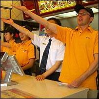 Stefan in the Kung Fu fast food restaurant in Beijing