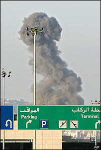 Smoke above Beirut's airport following an attack by Israeli planes