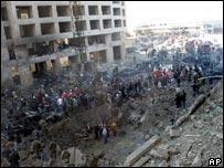 The scene after the murder of Rafik Hariri in 2005