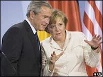 US President George W Bush and German Chancellor Angela Merkel in Stralsund, Germany