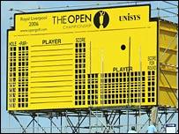 The distinctive Open scoreboard beside Royal Liverpool's 18th green
