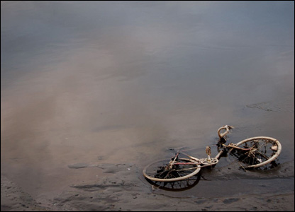 Bicycle dumped in a river