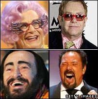 Dame Edna Everage, Sir Elton John, Sir Tom Jones and Luciano Pavarotti