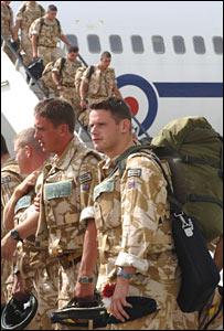 UK troops arriving in Afghanistan