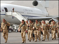 UK troops arriving in Afghanistan