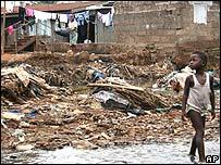 Shanty town in Sierra Leone