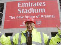 Arsene Wenger outside the new Arsenal ground