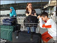 Stranded travellers at Rafik Hariri Airport in Beirut