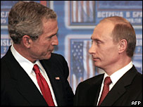 George W Bush and Vladimir Putin in Slovakia in 2005