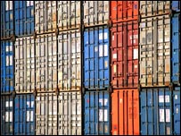 Stacks of containers for export