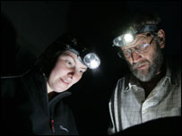 Erica Colkett from the Countryside Council for Wales and local bat worker Ian Rabjohns, at the exchange after dark to count the number of bats in the roost.