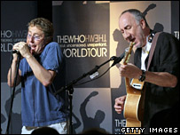 Roger Daltrey and Pete Townshend perform at a press conference