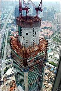 The Shanghai Global Financial Center under construction in Shanghai