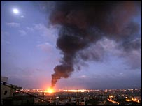 Fire after an Israeli air strike in Beirut