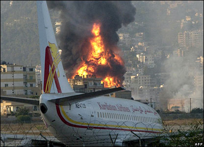 Burning fuel tank at Beirut airport