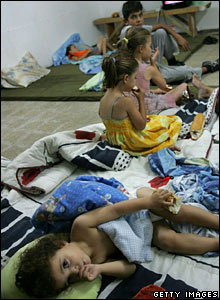 Children in an Israeli bomb shelter