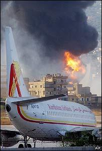 El aeropuerto de Beirut en llamas - AP