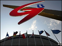 G8 logo and flags, St Petersburg