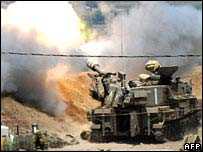 Israeli tank fire against Hezbollah positions