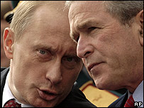 Russian Vladimir Putin (left) and US President George W Bush