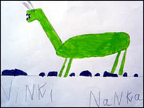 A child's depiction of the ninki-nanka (Picture from the expedition blog: http://2006-gambia.blogspot.com/)