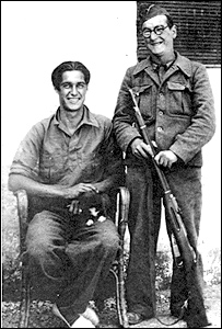 Alun Menai Williams (right) and his Canadian friend, Billy, in Spain, c. 1937