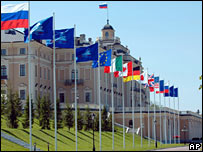 Flags at the G8 venue in St Petersburg