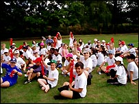 Just done it! - the kids at Barnes Primary School show off their Sport Relief red socks