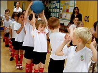 Pass it on: Emerald class do a spot of line-out practise