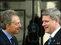 Tony Blair and Canadian Prime Minister Stephen Harper