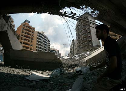 Destroyed bridge in Beirut