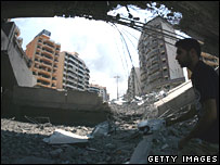 Bombed airport bridge