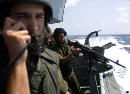 Israeli ship Keshet patrols off the Lebanese coast