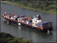 Photo of shipping container in the Panama Canal