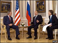 George W Bush (left) and Vladimir Putin in talks on 15 July