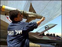 Missile being loaded onto Israeli jet