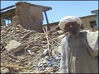 Bomb damage in Nawzad, Afghanistan