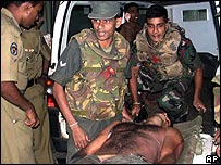 Wounded Sri Lankan soldier
